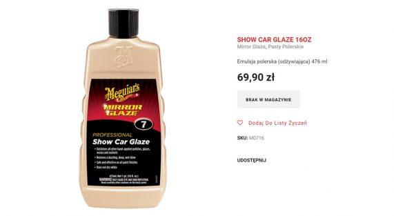 Show Car Glaze Niedostepny